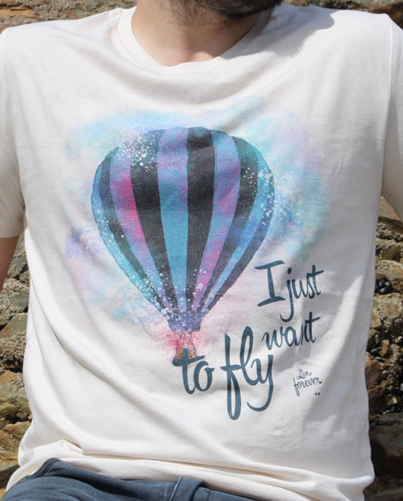 Camiseta I just want to fly Color Blanco Vintage