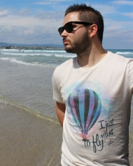 "Camiseta ""I just want to fly"" Color Blanco Vintage"