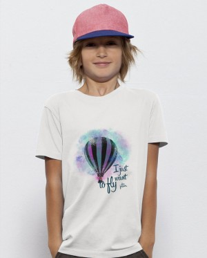 Camiseta Niños - I Just Want to Fly - Globo - Blanca