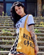 Tote Bag REBEL GIRL – Tote Bag Feminista – Rebel Girl – Live Forever ®